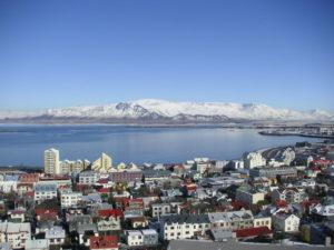 Reykjavik with snow
